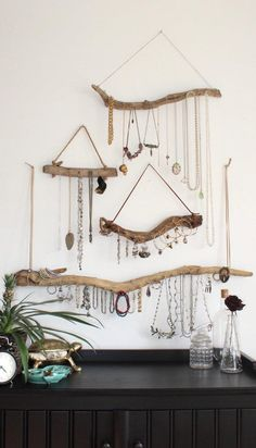 Jewelry Organization Driftwood Jewelry Display Wall Mounted Jewelry Organizer Necklace Hanger Jewelry Holder/Set or Single/bohemian decor boho decor organization Wall Mount Jewelry Organizer, Jewelry Organization, Bedroom Organization Diy, Necklace Hanger, Necklace Storage, Diy Necklace Holder, Diy Necklace Organizer, Diy Jewelry Holder, Diy Necklace Display