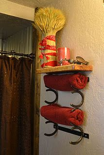 Horseshoe Towel Rack - Mom, you have a grand-in-law who could help you with this little project now. :-)