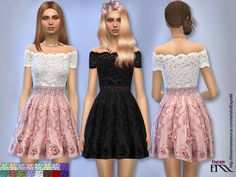 The Sims Resource: Floral Applique Tulle Dress by EsyraM • Sims 4 Downloads