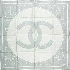 "Chanel Grey & Khaki Silk Signature ""CC"" Constellation Scarf - $199.99"