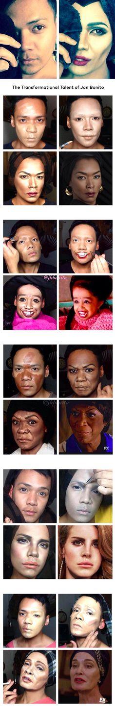 Incredible Transformations: The Work Of Jan Bonito Beautylish Sfx Makeup, Costume Makeup, Makeup Art, Makeup Tips, Beauty Makeup, Maquillaje Halloween, Halloween Makeup, Power Of Makeup, Special Effects Makeup