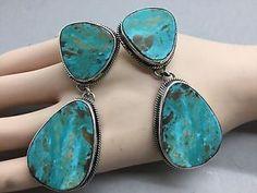 Navajo Chimney Butte Big Bold Kingman Turquoise Sterling Signed Earrings | eBay