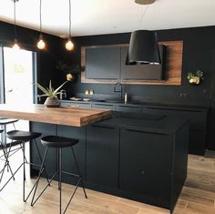 Kitchen Room Design, Home Room Design, Kitchen Cabinet Design, Modern Kitchen Design, Home Decor Kitchen, Interior Design Kitchen, Home Kitchens, Loft Kitchen, Black Kitchens