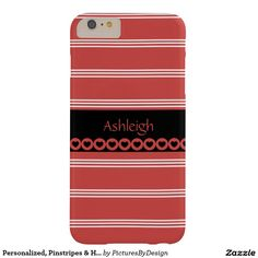 Cute girly phone case, Deep Rose with white pinstripes. Personalize with your name on the black banner (with matching rose & black hearts). Fun for yourself, or a cute gift to give to the girl who has your heart! #valentine #hearts #pinstripes #personalize