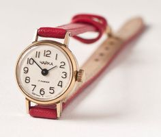 Vintage wrist watch Chaika tiny little for ladies red by SovietEra, $42.00