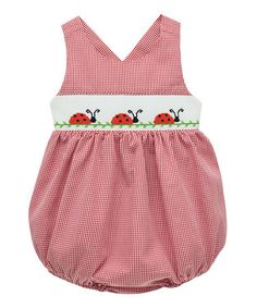 Love this Red Ladybug Smocked Bubble Bodysuit - Infant on #zulily! #zulilyfinds