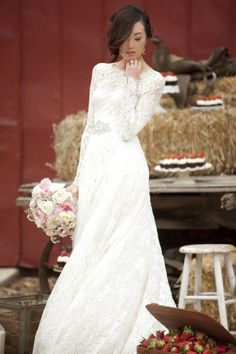 FOUND IT<  a covered up dress that looks like it was meant to be.  -     LONG-SLEEVED WEDDING DRESSES