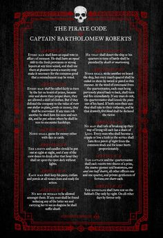 """The Pirate Code of Captain Bartholomew Roberts"""