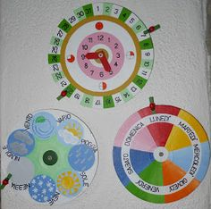 and calendar Great calendar time charts Montessori Activities, Learning Activities, Kids Learning, Calendar Time, Kids Calendar, Weather Calendar, Seasons Activities, School Tool, Classroom Organisation