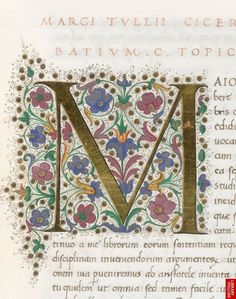 Illuminated initial from a copy of Boethius' Opera omnia, made in Florence, Italy, de ana Medieval Manuscript, Medieval Art, Monogram Fonts, Monogram Letters, Free Monogram, Wood Letters, Illuminated Letters, Illuminated Manuscript, Illustrations Vintage