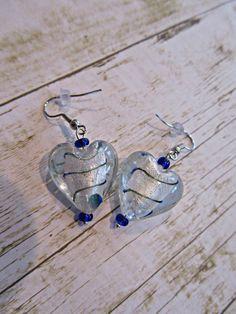 Silver Heart Earrings, Valentine Earrings, Blue Heart Earrings, Valentine Jewelry, Valentine Gifts, Chunky Heart Earrings,Mothers Day Gifts by BrownBeaverBeadery on Etsy