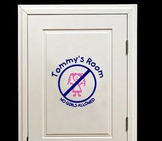 Personalized No Girls Allowed Room or Door #personalized #name #nogirlsallowe #boysroom #kids #doordecals