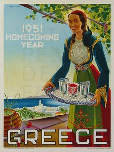 Vintage travel poster of Greece, 1951 Retro Poster, Poster Ads, Poster Vintage, Vintage Travel Posters, Vintage Ads, Old Posters, Old Advertisements, Greek Art, Images