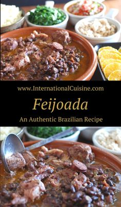 Feijoada Brazilian Black Bean and Pork Stew Feijoada is what the national dish of Brazil is called. It is an comforting dish of beans and pork. It is served with several side dishes which is traditional. Get all the recipes and be sure to join the culina Brazilian Dishes, Brazilian Food Recipes, Brazilian Beans Recipe, Brazil Food, Brazil Brazil, Brazillian Food, Beef Recipes, Cooking Recipes, Around The World Food