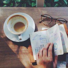 passports and coffee