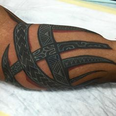 White Polynesian coverup over black tribal - Alex Apilando