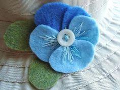 Robin's Egg Blue Felt Flower Pansy Pin