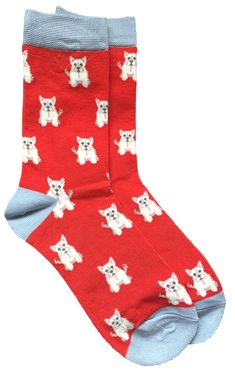 Ladies red and grey coloured socks with a cute Westie pattern.  £7.95 with FREE UK Delivery  Excellent quality, soft and stretchy bamboo / Cotton blend fabric ( 54% Bamboo, 22% Cotton, 16% Polyester, 6% Nylon, 2% Elastane )  One size ( Ladies UK Shoe size 4 - 7 ) Bamboo Socks, West Highland Terrier, Colorful Socks, Terrier Dogs, Westies, Red And Grey, Free Uk, Cute Dogs, Delivery