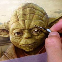 Color painting of Yoda from Star Wars movie done by artist and illustrator Naoto Hattori Magritte, Magazine Art, Food Art, Surrealism, Paint Colors, Art Gallery, Lion Sculpture, Star Wars, Sketches