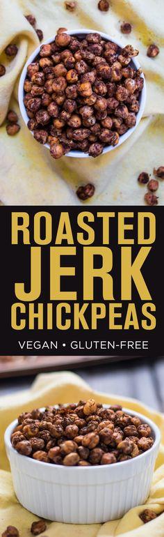 Easy Roasted Jerk Chickpeas, Vegan and Gluten-free.