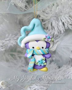 Handcrafted Polymer Clay Penguin Ornament by MyJoyfulMoments - DIY and Crafts Polymer Clay Ornaments, Polymer Clay Figures, Fimo Clay, Polymer Clay Charms, Polymer Clay Projects, Polymer Clay Creations, Polymer Clay Art, Clay Crafts, Polymer Clay Jewelry