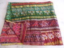 Vintage Patola Silk Sari Kantha Quilt Patchwork Throw Gudari Bedspread Blanket