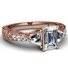 Emerald Cut Diamond Vintage Engagement Ring With Trillion & Round Side Stones in Rose Gold
