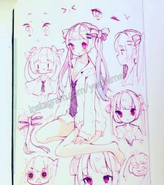 Instagram media by yoaihime - Sketch/doodles page of ideas of a new OC ;v; I'm still thinking of additional hairstyles and outfits cause she still looks a little plain atm. I'll post more art soon, I'm slowly crawling away from my artblock and general fear of opening my social media apps and I apologize for my inactivity lately ;;