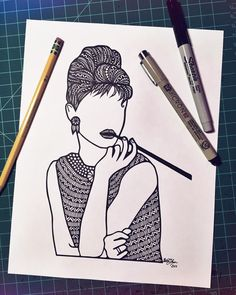 This is a hand drawn drawing of a faceless Aubrey Hepburn. Available in three different sizes
