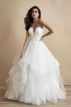 Soft ruffles cascade down the full skirt of this strapless ballgown. Try this wedding gown on today at The Gown Gallery! Designer Wedding Dresses, Bridal Dresses, Bridesmaid Dresses, Prom Dresses, Size 12 Wedding Dress, Wedding Gowns, Allure Romance, Uk Bride, Gown Gallery