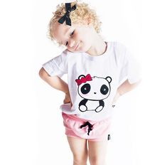 Isn't this little girl adorable in our monochrome panda shirt? It looks so cute with our Pink Shorts, perfect for spring and summer! Mommy And Me Outfits, Toddler Girl Outfits, Toddler Fashion, Kids Outfits, Kids Fashion, Baby Clothes Canada, Kids Clothing Canada, Bebe Shirts, Panda Shirt