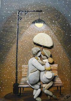 Stone Pictures Pebble Art, Pebble Stone, Stone Art, Stone Crafts, Rock Crafts, Pebble Painting, Stone Painting, Art Pierre, Painted Rocks