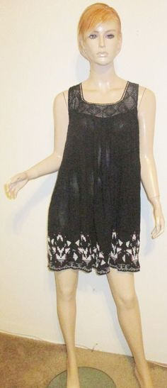 NWT ECOTE Anthropologie Rayon Gauze Cotton Embroidered Crochet Ethnic Dress L #Ecote #Shift #Casual