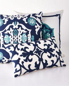 -5Y5G Lili Alessandra  Ocean Reef Navy Moroccan Pillow Ocean Reef White Moroccan Pillow