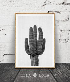 Cactus Print Modern Minimal Art Arizona Art Black and by LILAxLOLA