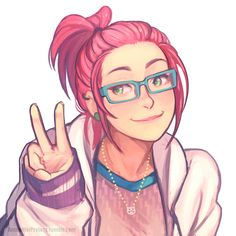 1girl alternate_hairstyle annie_mei annie_mei_project bespectacled blue-framed_glasses caleb_thomas casual glasses green_eyes jacket jewelry long_hair necklace pink_hair ponytail sleeves_past_wrists smile solo upper_body v