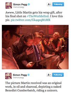 Simon Pegg and Martin Freeman on the set of The World's End