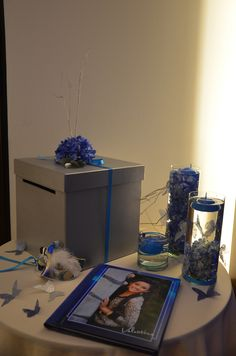 decoración mesa caja de sobres
