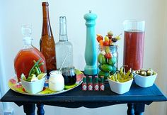Bloody Mary Bar! Yum. Copied this idea for my halloween brunch.