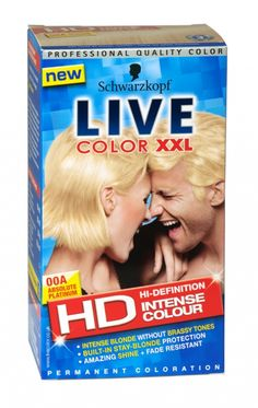 Schwarzkopf Live Intense Lightener Absolute Platinum Hair Dye for sale online Platinum Hair Dye, Live Colour Xxl, Schwarzkopf Live Colour, Vibrant Colors, Colours, Live Hd, Chemist, Up Hairstyles, Dyed Hair