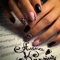 Beautiful evening nails, Beautiful nails 2016, Black and pink nails, Evening dress nails, Evening nails, Evening nails by gel polish, Pattern nails, Two-color nails