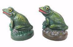 2 Vintage Cast Iron Frogs Door Stop with Wedge Green