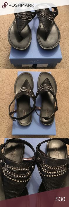 Vera Wang Thong Flat Sandals Slip in to these jeweled t strap black leather(upper) thong Sandals and feel glamorous. Never worn and in excellent condition. Comes with original box. Simply Vera Vera Wang Shoes Sandals