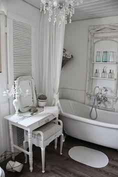 Romantic Whitewashed  Shabby Chic Bathroom.                                                                                                                                                                                 More
