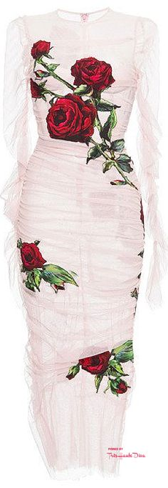 Dolce & Gabbana Fall 2015 White Ruched Tulle Rose Applique Sheath Dress ♔THD♔