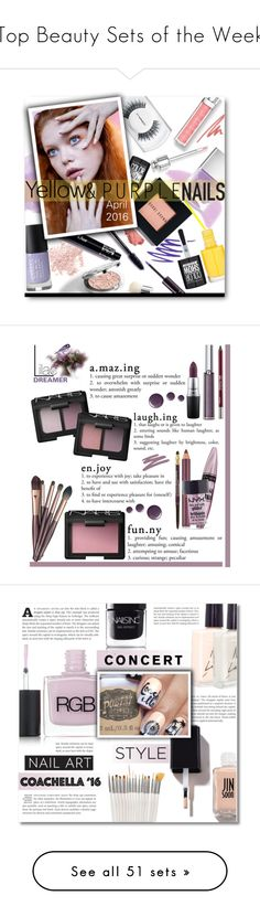 """""""Top Beauty Sets of the Week"""" by polyvore ❤ liked on Polyvore featuring beauty, Illamasqua, NARS Cosmetics, Bobbi Brown Cosmetics, MAC Cosmetics, Bare Escentuals, Maybelline, Cheeky, Ellis Faas and Nails Inc."""