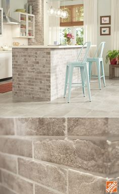 The bricks you see here are actually glazed porcelain tiles. You can add the classic look of brick to your kitchen affordably and with the easy care of tile. The brick-look tiles have a matte finish that's smooth to the touch. It's great for flooring and Brick Look Tile, Brick Tiles, Brick Flooring, Brick Tile Backsplash, Faux Brick Walls, Brick Paneling, Panelling, Kitchen Flooring, Kitchen Backsplash