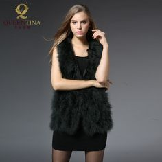 Hot Sale Sexy 2017 Women Winter New Real Fur Vests Outwear Jacket 100% Natural Ostrich Feather Turkey Fur Vest Genuine Fur Coat
