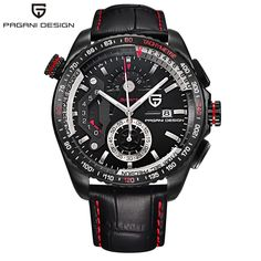 64.80$  Watch here - http://alimw6.shopchina.info/go.php?t=32806243641 - PAGANI DESIGN Men Watch luxury Brand Chronograph Watches 2017 Waterproof Military Outdoor Stops Wristwatches Genuine Leather  #magazineonline