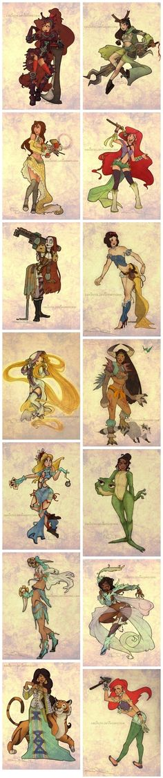 Final Fantasy Style Disney Princesses. I'm pretty sure its specifically Final Fantasy X-2.